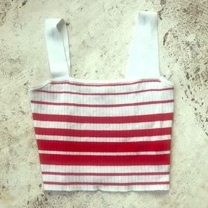 AdorBle Striped Cropped Tank Top